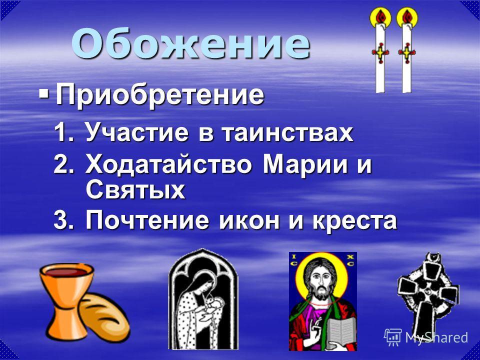 3.Почтение икон и креста Обожение 1. Участие в таинствах Приобретение Приобретение 2.Ходатайство Марии и Святых