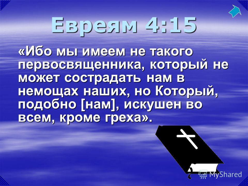 «Ибо мы имеем не такого первосвященника, который не может сострадать нам в немощах наших, но Который, подобно [нам], искушен во всем, кроме греха». Евреям 4:15
