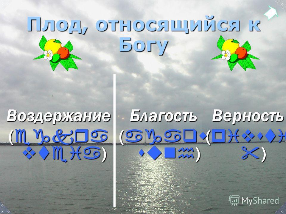 Верность ( pivsti  ) Плод, относящийся к Богу Благость ( agaqw sunh ) Воздержание ( egkra vteia )