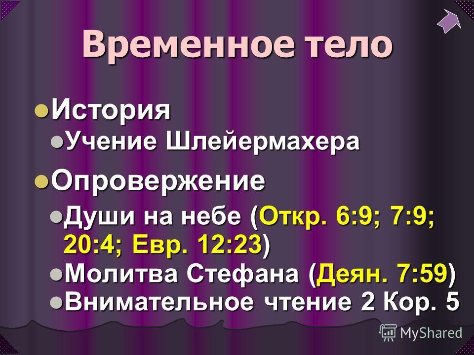 Души на небе (Откр. 6:9; 7:9; 20:4; Евр. 12:23) Души на небе (Откр. 6:9; 7:9; 20:4; Евр. 12:23) Молитва Стефана (Деян. 7:59) Молитва Стефана (Деян. 7:59) Внимательное чтение 2 Кор. 5 Внимательное чтение 2 Кор. 5 Временное тело Учение Шлейермахера Уче