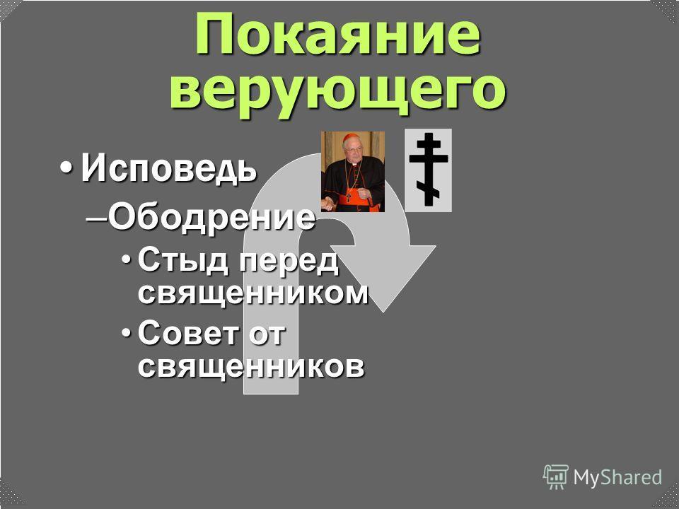 –Ободрение Стыд перед священникомСтыд перед священником Совет от священниковСовет от священников ИсповедьИсповедь Покаяние верующего