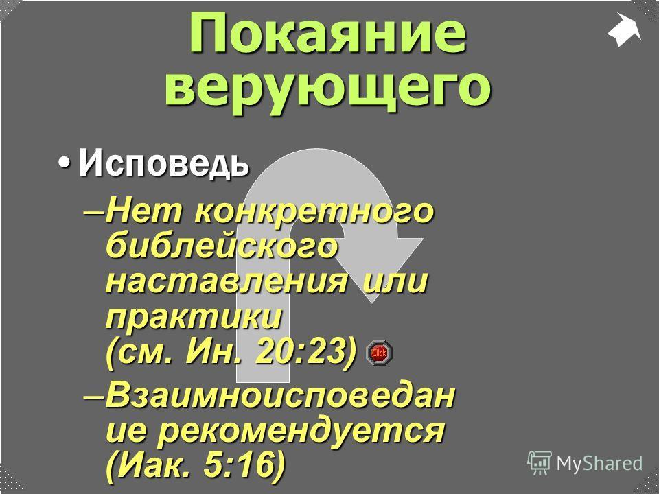 –Нет конкретного библейского наставления или практики (см. Ин. 20:23) –Взаимноисповедан ие рекомендуется (Иак. 5:16) ИсповедьИсповедь Покаяние верующего