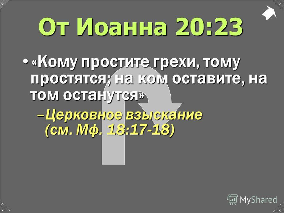 От Иоанна 20:23 –Церковное взыскание (см. Мф. 18:17-18) «Кому простите грехи, тому простятся; на ком оставите, на том останутся»«Кому простите грехи, тому простятся; на ком оставите, на том останутся»