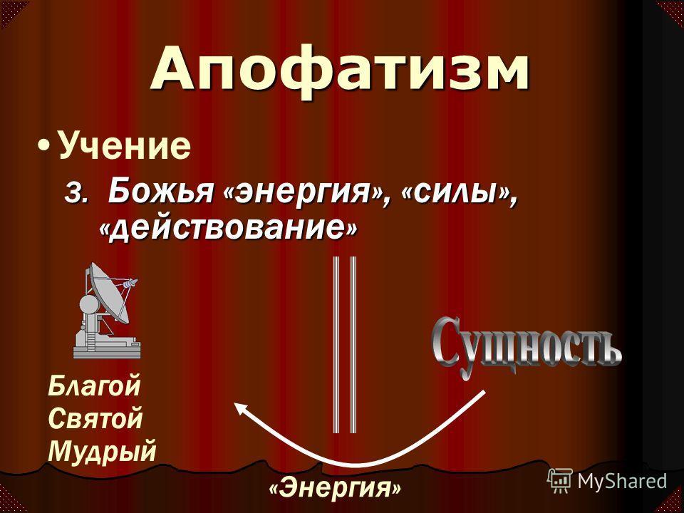 3. Божья «энергия», «силы», «действование» Учение Благой Святой Мудрый «Энергия» Апофатизм
