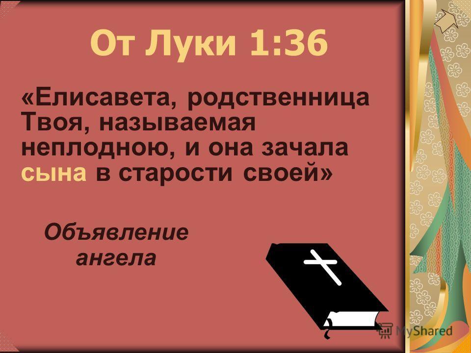 «Елисавета, родственница Твоя, называемая неплодною, и она зачала сына в старости своей» От Луки 1:36 Объявление ангела