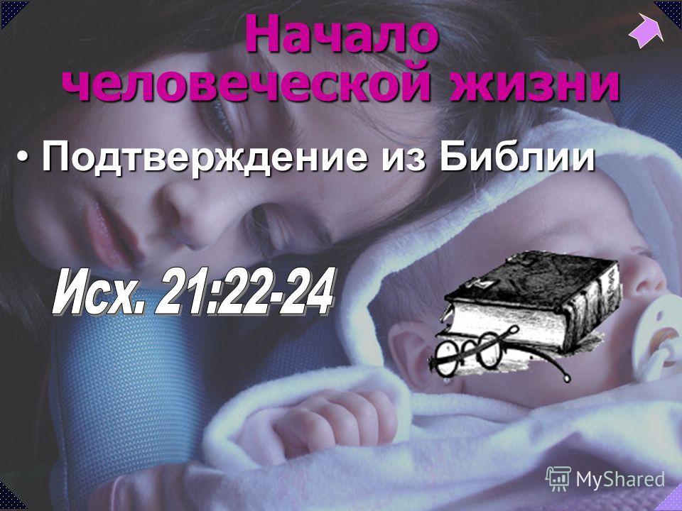 Подтверждение из БиблииПодтверждение из Библии Начало человеческой жизни