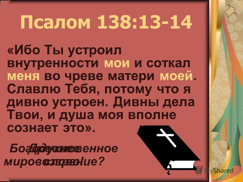 Псалом 138:13-14 «Ибо Ты устроил внутренности мои и соткал меня во чреве матери моей. Славлю Тебя, потому что я дивно устроен. Дивны дела Твои, и душа моя вполне сознает это». Древнее мировоззрение? Богодухновенное слово!