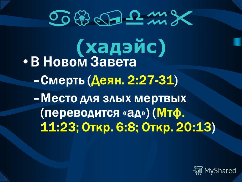 a{/dh (хадэйс) У Греков –Бог преисподней –Место для мертвых В LXX – перевод шеол У раввинов –Ранних = два отдела –Поздних = праведные на небе