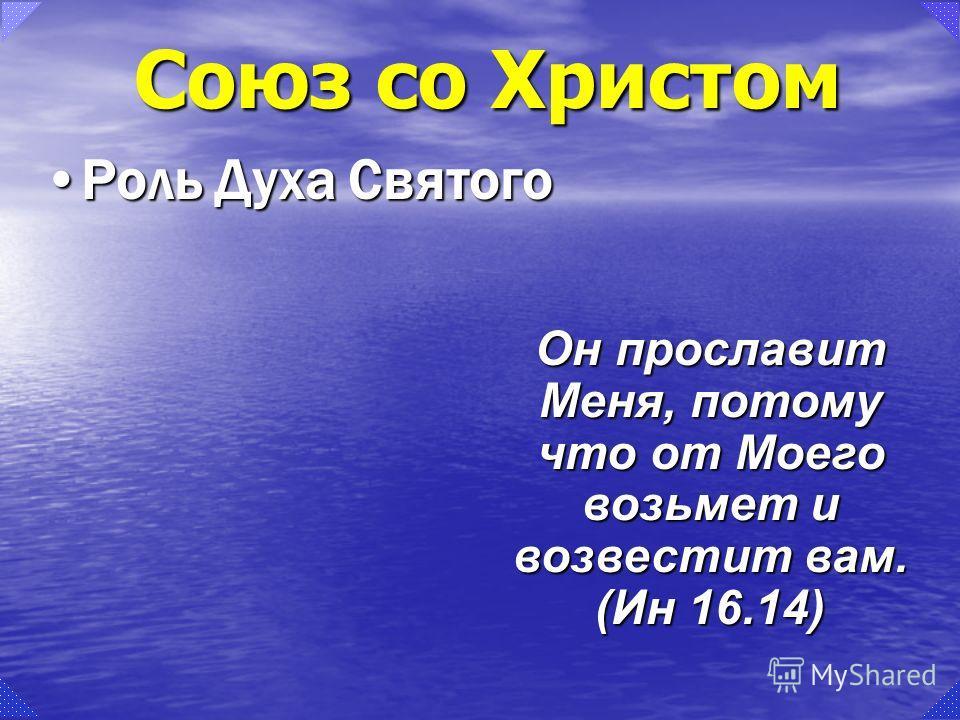 Роль Духа СвятогоРоль Духа Святого Он прославит Меня, потому что от Моего возьмет и возвестит вам. (Ин 16.14)