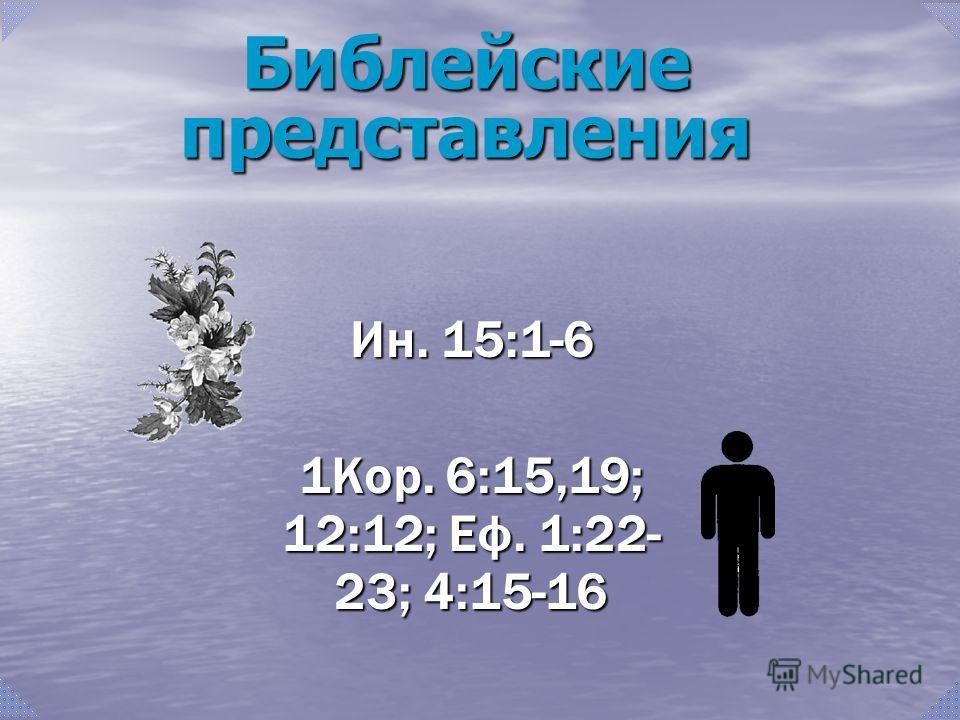Ин. 15:1-6 1Кор. 6:15,19; 12:12; Еф. 1:22- 23; 4:15-16 Библейские представления
