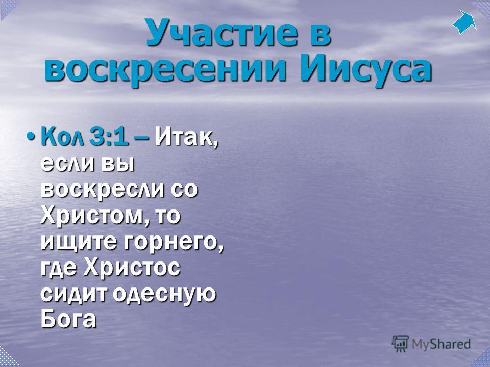 Кол 3:1 -- Итак, если вы воскресли со Христом, то ищите горнего, где Христос сидит одесную БогаКол 3:1 -- Итак, если вы воскресли со Христом, то ищите горнего, где Христос сидит одесную Бога Участие в воскресении Иисуса