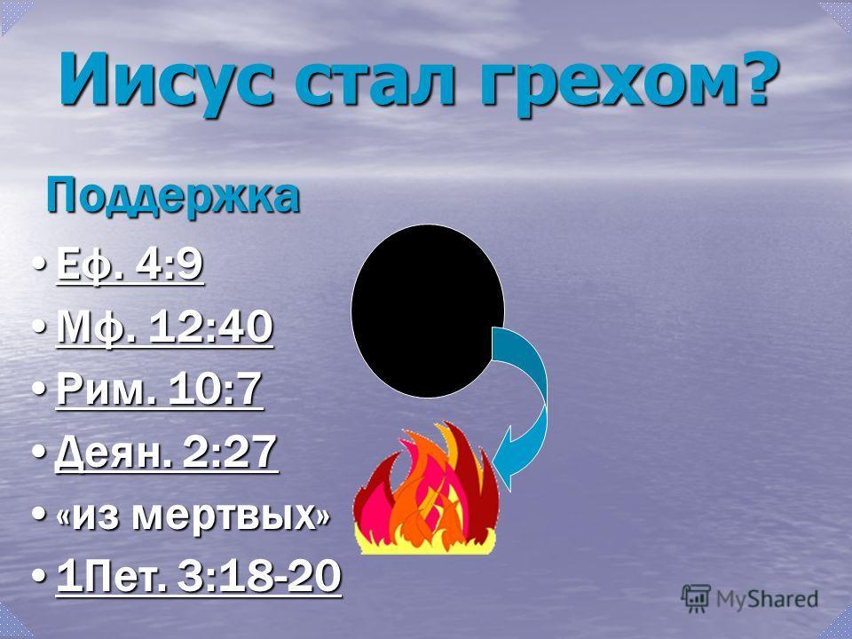 Поддержка Еф. 4:9Еф. 4:9Еф. 4:9Еф. 4:9 Мф. 12:40Мф. 12:40Мф. 12:40Мф. 12:40 Рим. 10:7Рим. 10:7Рим. 10:7Рим. 10:7 Деян. 2:27Деян. 2:27Деян. 2:27Деян. 2:27 «из мертвых»«из мертвых» 1Пет. 3:18-201Пет. 3:18-201Пет. 3:18-201Пет. 3:18-20 Иисус стал грехом?