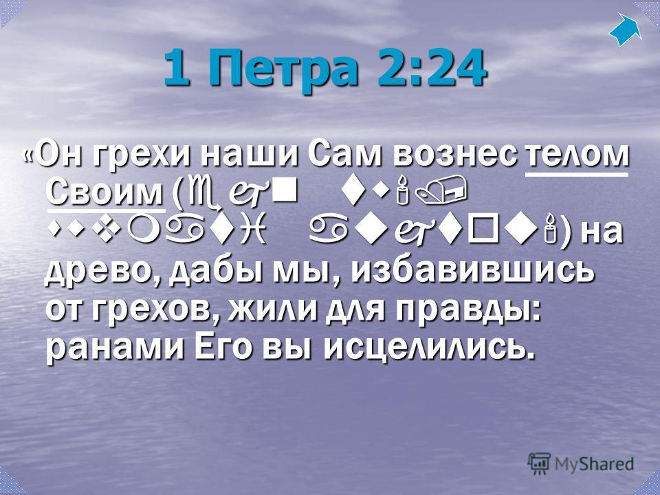 1 Петра 2:24 «Он грехи наши Сам вознес телом Своим ( ejn tw'/ swvmati aujtou' ) на древо, дабы мы, избавившись от грехов, жили для правды: ранами Его вы исцелились.