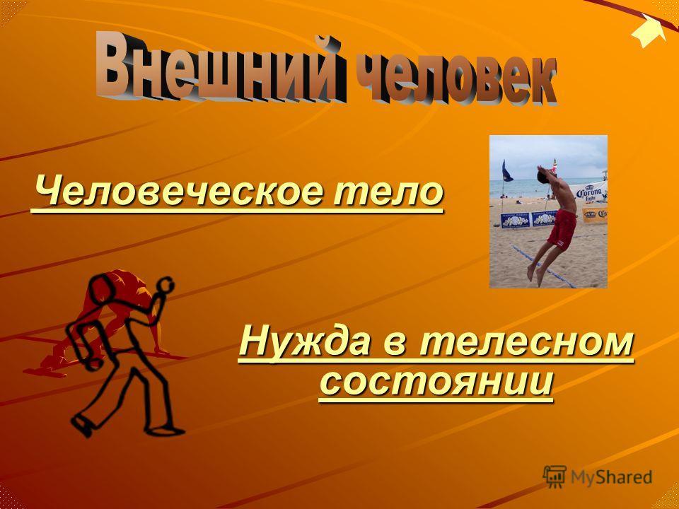 Человеческое тело Человеческое тело Нужда в телесном состоянии Нужда в телесном состоянии
