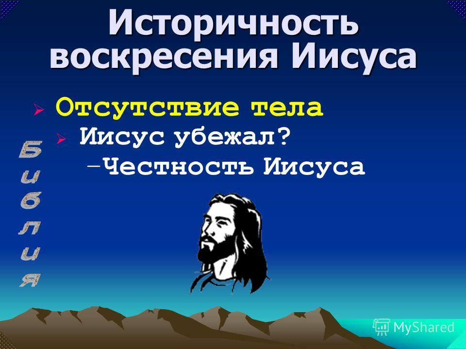 –Пелены на месте Историчность воскресения Иисуса Отсутствие тела Иисус убежал?
