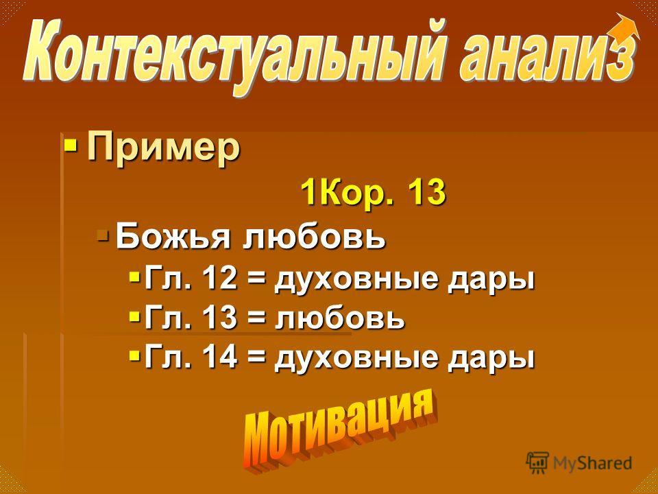 Пример Пример 1Кор. 13 Божья любовь Божья любовь Гл. 12 = духовные дары Гл. 12 = духовные дары Гл. 13 = любовь Гл. 13 = любовь Гл. 14 = духовные дары Гл. 14 = духовные дары