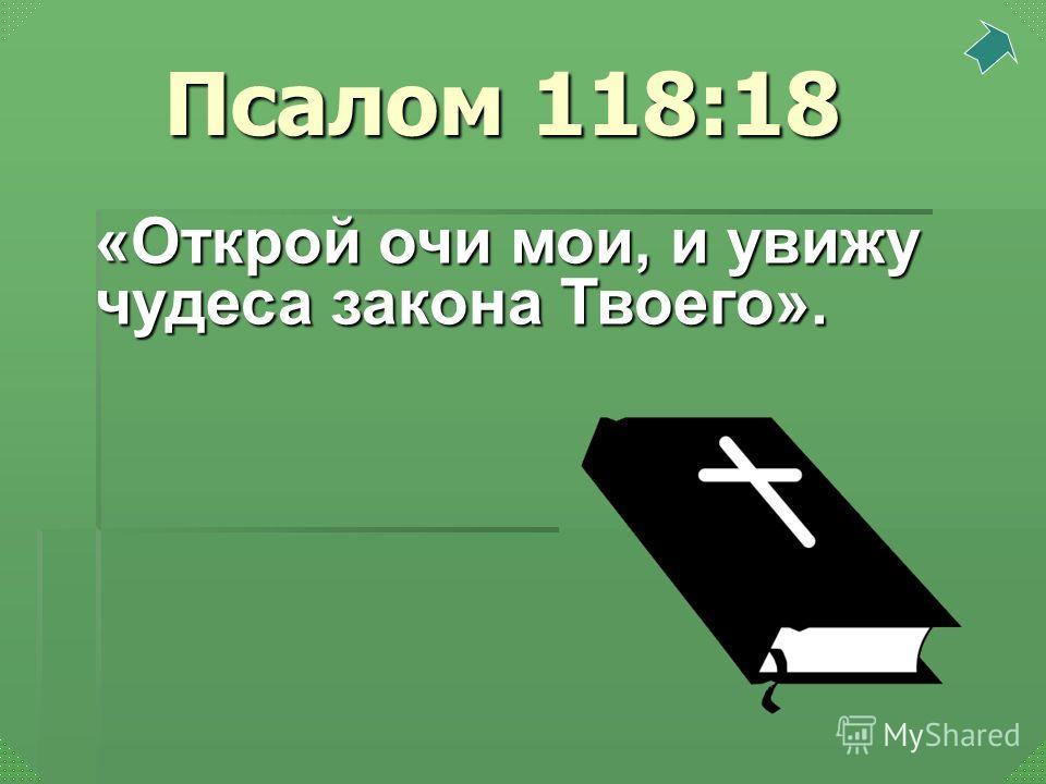 «Открой очи мои, и увижу чудеса закона Твоего». Псалом 118:18