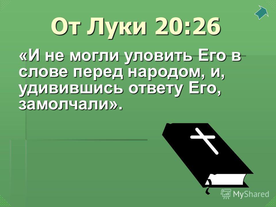 «И не могли уловить Его в слове перед народом, и, удивившись ответу Его, замолчали». От Луки 20:26