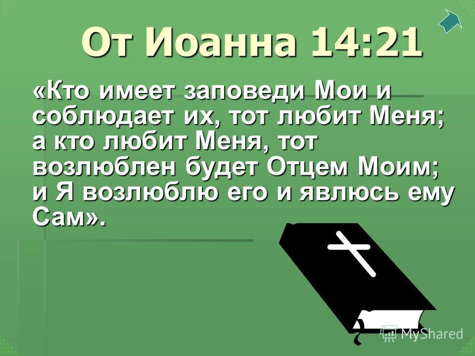 «Кто имеет заповеди Мои и соблюдает их, тот любит Меня; а кто любит Меня, тот возлюблен будет Отцем Моим; и Я возлюблю его и явлюсь ему Сам». От Иоанна 14:21