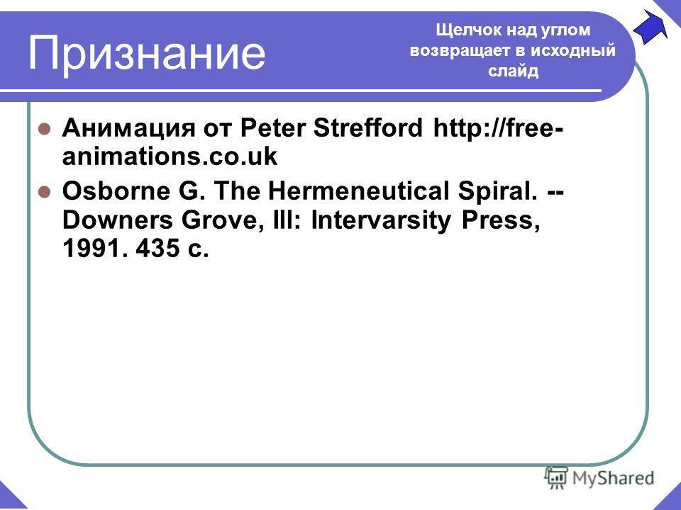 Признание Анимация от Peter Strefford http://free- animations.co.uk Osborne G. The Hermeneutical Spiral. -- Downers Grove, Ill: Intervarsity Press, 1991. 435 c. Щелчок над углом возвращает в исходный слайд