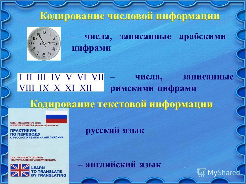 – русский язык – английский язык – числа, записанные римскими цифрами – числа, записанные арабскими цифрами