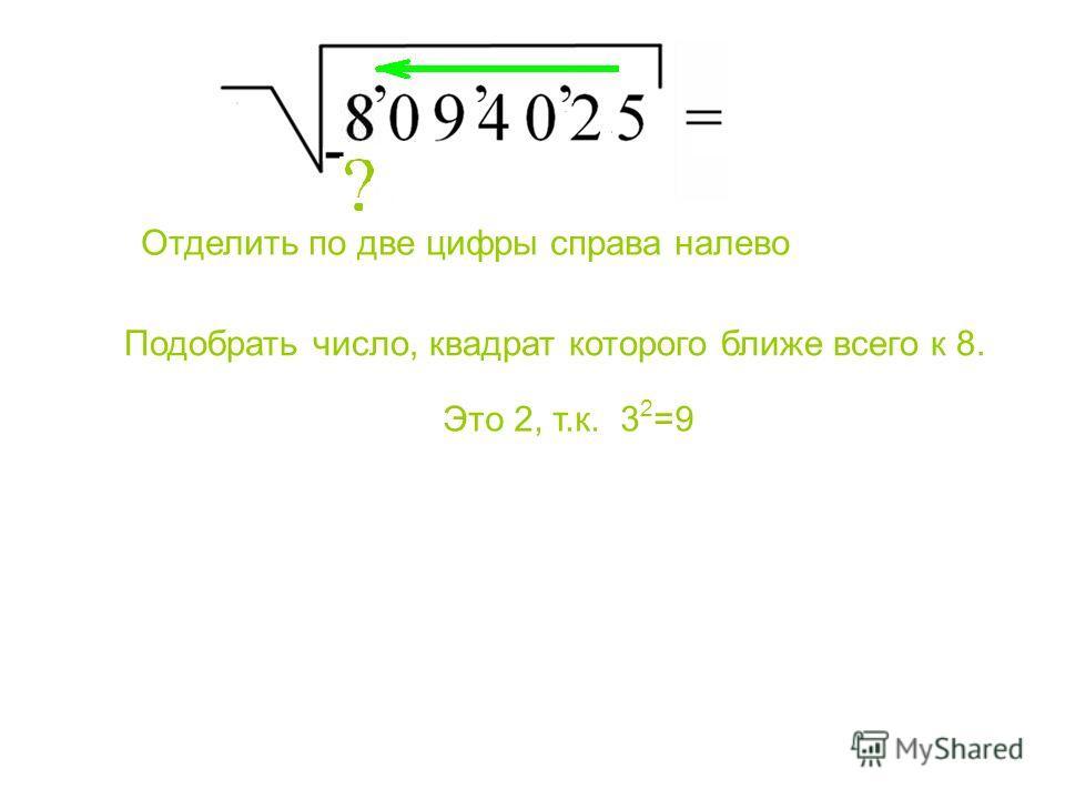 Подобрать число, квадрат которого ближе всего к 8. Отделить по две цифры справа налево Это 2, т.к. 3 2 =9 Подобрать число, квадрат которого ближе всего к 8. Отделить по две цифры справа налево. Это 2, т.к. 32=9.