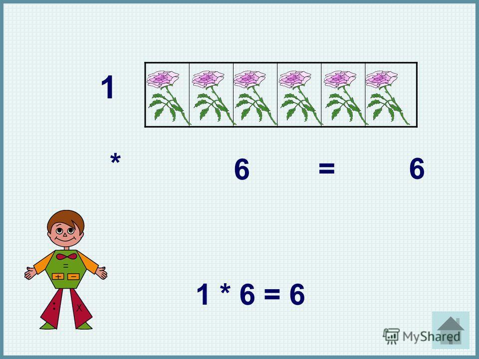 1 * 6 =6 1 * 6 = 6 1. *. 6. =. 6. 1 * 6 = 6.