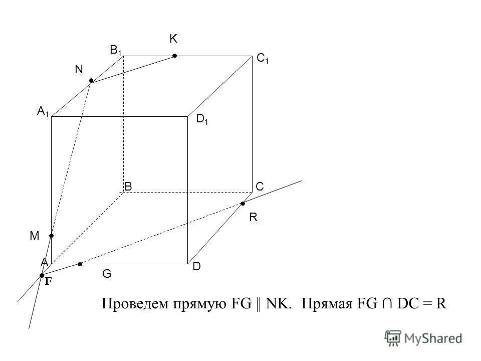 А ВС D В1В1 C1C1 D1D1 M N K A1A1 F G R Проведем прямую FG || NK. Прямая FG DC = R