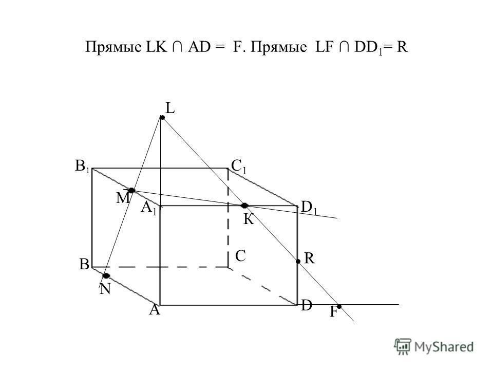 Прямые LK АD = F. Прямые LF DD 1 = R A D C В А1А1 В1В1 С1С1 D1D1 М К N L F R