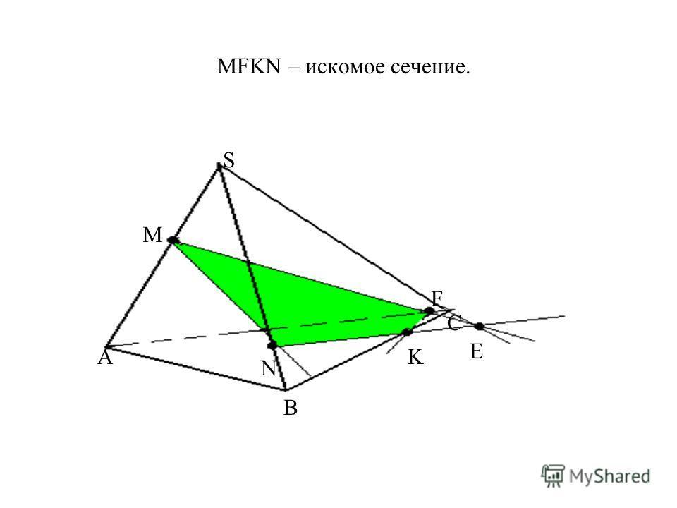 MFKN – искомое сечение. А B S C M N K Е F