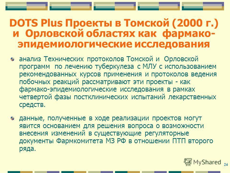 24 DOTS Plus Проекты в Томской (2000 г.) и Орловской областях как фармако- эпидемиологические исследования анализ Технических протоколов Томской и Орловской программ по лечению туберкулеза с МЛУ с использованием рекомендованных курсов применения и пр