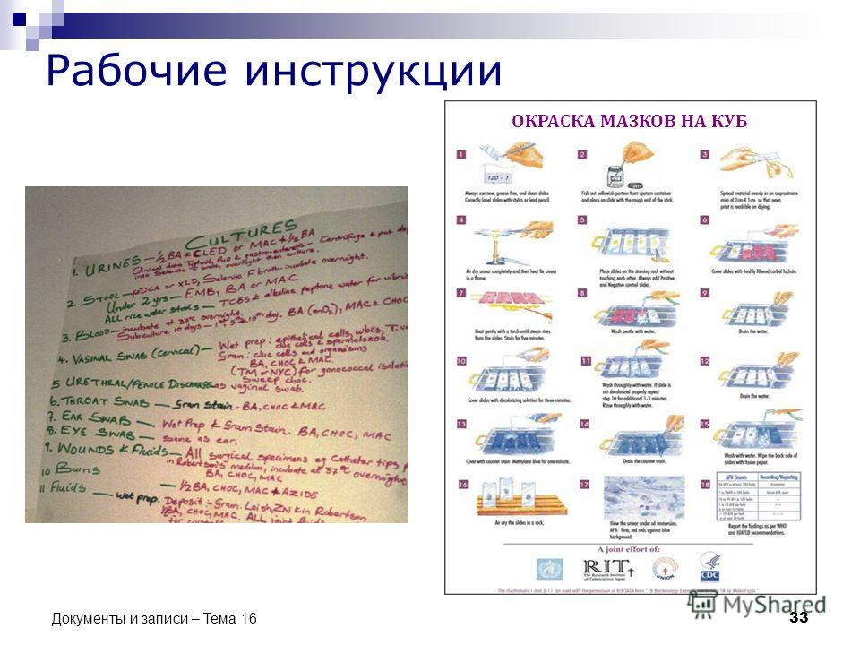 Рабочие инструкции 33 Документы и записи – Тема 16 ОКРАСКА МАЗКОВ НА КУБ