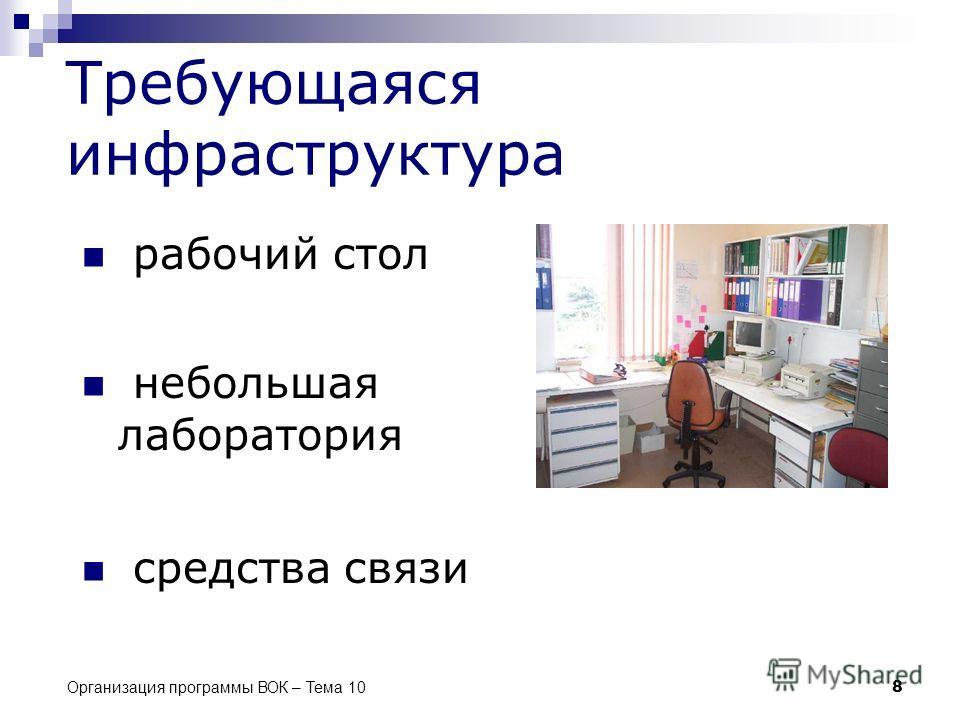 Организация программы ВОК – Тема 10 8 Требующаяся инфраструктура рабочий стол небольшая лаборатория средства связи