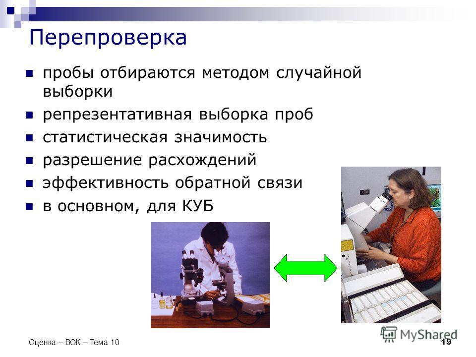 Перепроверка пробы отбираются методом случайной выборки репрезентативная выборка проб статистическая значимость разрешение расхождений эффективность обратной связи в основном, для КУБ 19 Оценка – ВОК – Тема 10