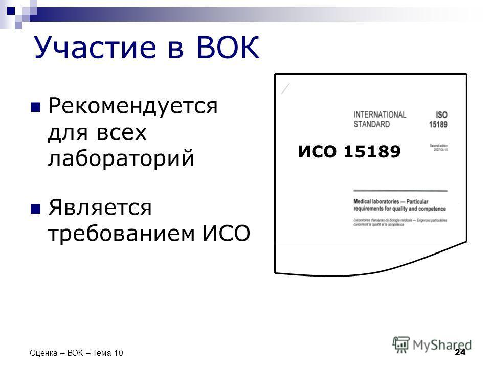 Участие в ВОК Рекомендуется для всех лабораторий Является требованием ИСО 24 Оценка – ВОК – Тема 10 ИСО 15189
