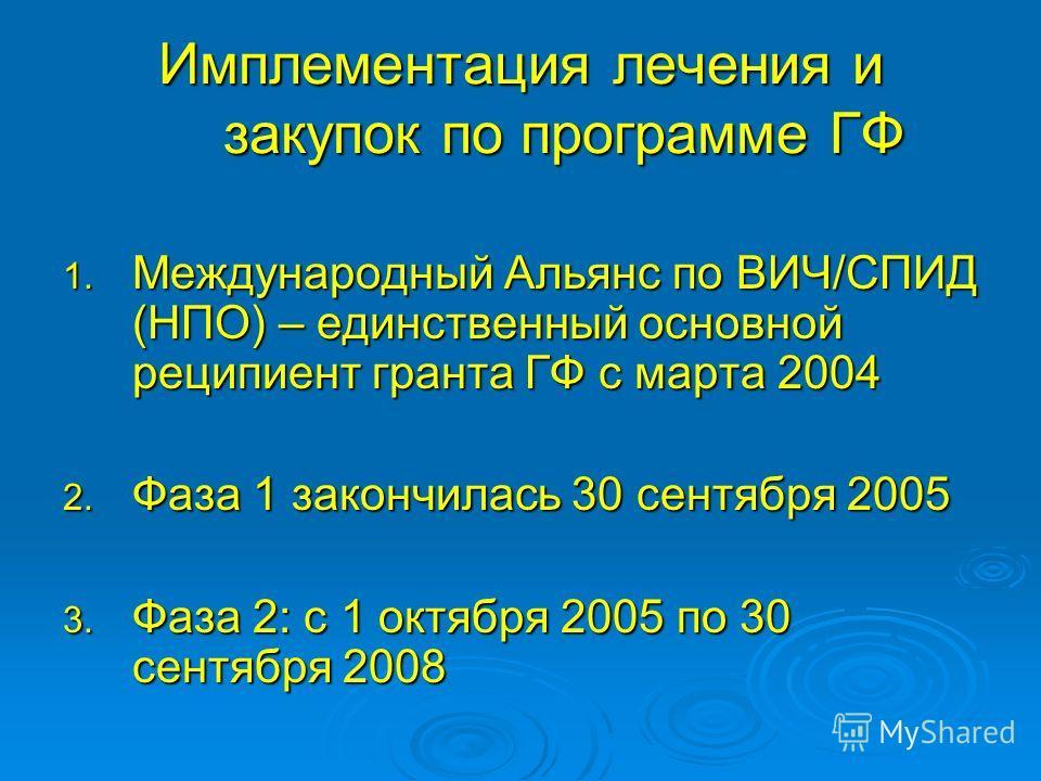 Имплементация лечения и закупок по программе ГФ 1. Международный Альянс по ВИЧ/СПИД (НПО) – единственный основной реципиент гранта ГФ с марта 2004 2. Фаза 1 закончилась 30 сентября 2005 3. Фаза 2: с 1 октября 2005 по 30 сентября 2008