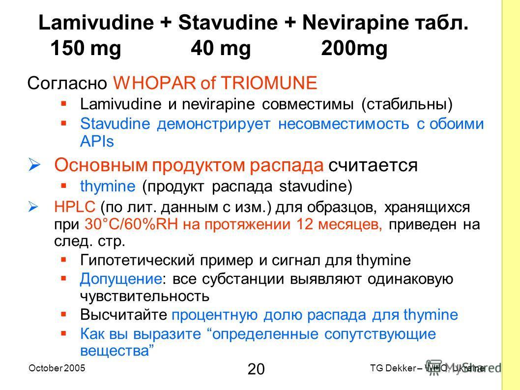 20 TG Dekker – WHO, UkraineOctober 2005 Lamivudine + Stavudine + Nevirapine табл. 150 mg 40 mg 200mg Согласно WHOPAR of TRIOMUNE Lamivudine и nevirapine совместимы (стабильны) Stavudine демонстрирует несовместимость с обоими APIs Основным продуктом р