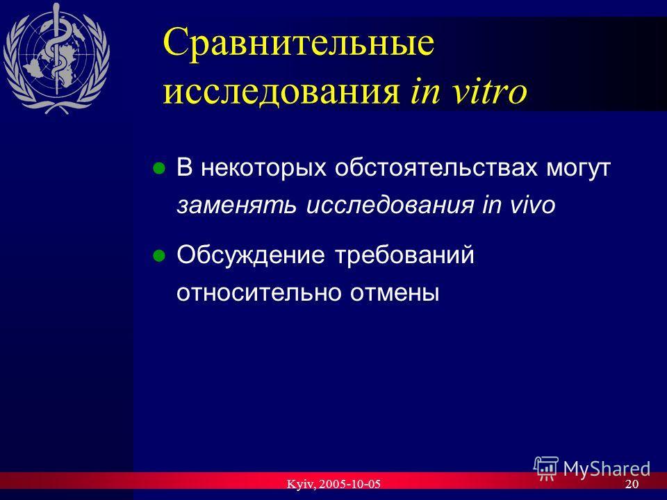 Kyiv, 2005-10-0520 Сравнительные исследования in vitro В некоторых обстоятельствах могут заменять исследования in vivo Обсуждение требований относительно отмены