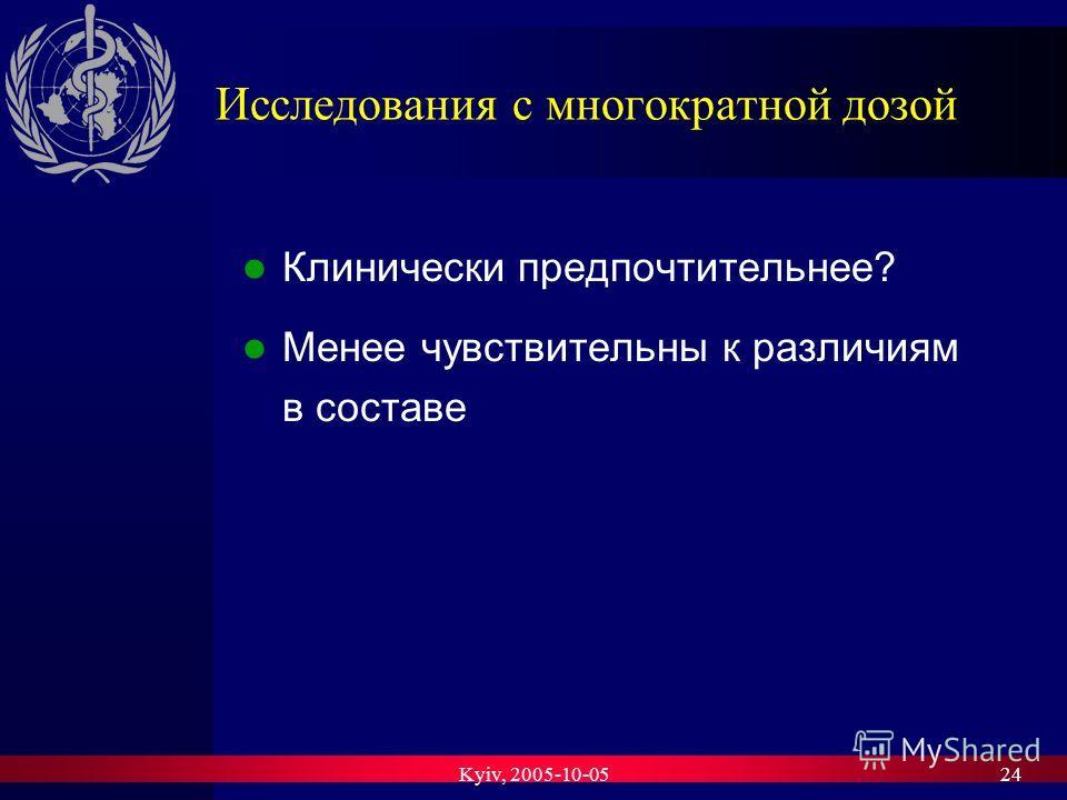 Kyiv, 2005-10-0524 Исследования с многократной дозой Клинически предпочтительнее? Менее чувствительны к различиям в составе