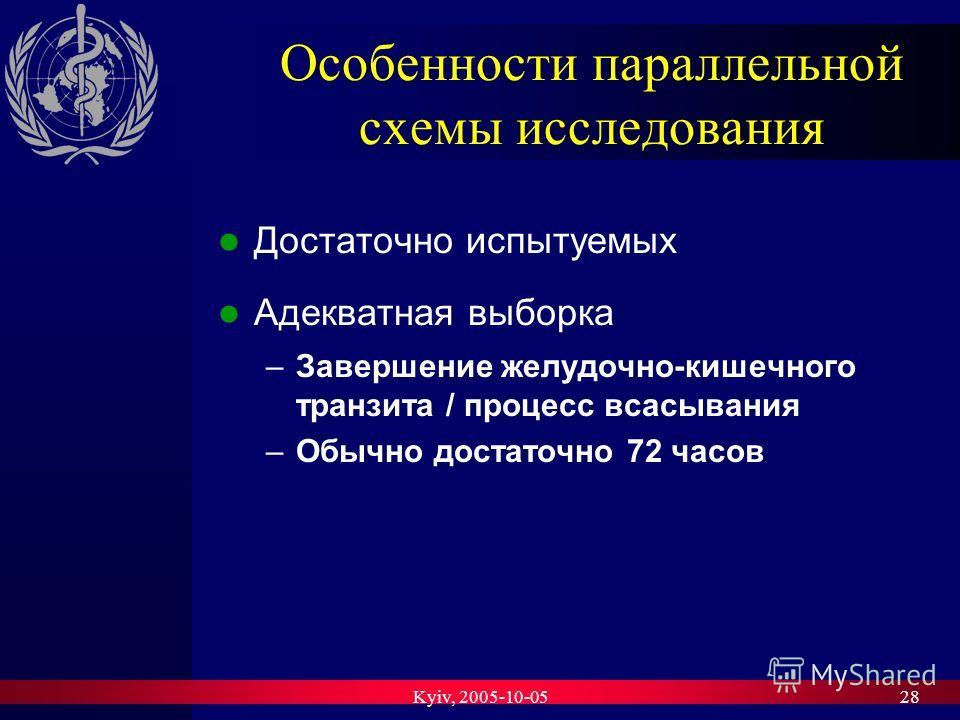 Kyiv, 2005-10-0528 Особенности параллельной схемы исследования Достаточно испытуемых Адекватная выборка –Завершение желудочно-кишечного транзита / процесс всасывания –Обычно достаточно 72 часов