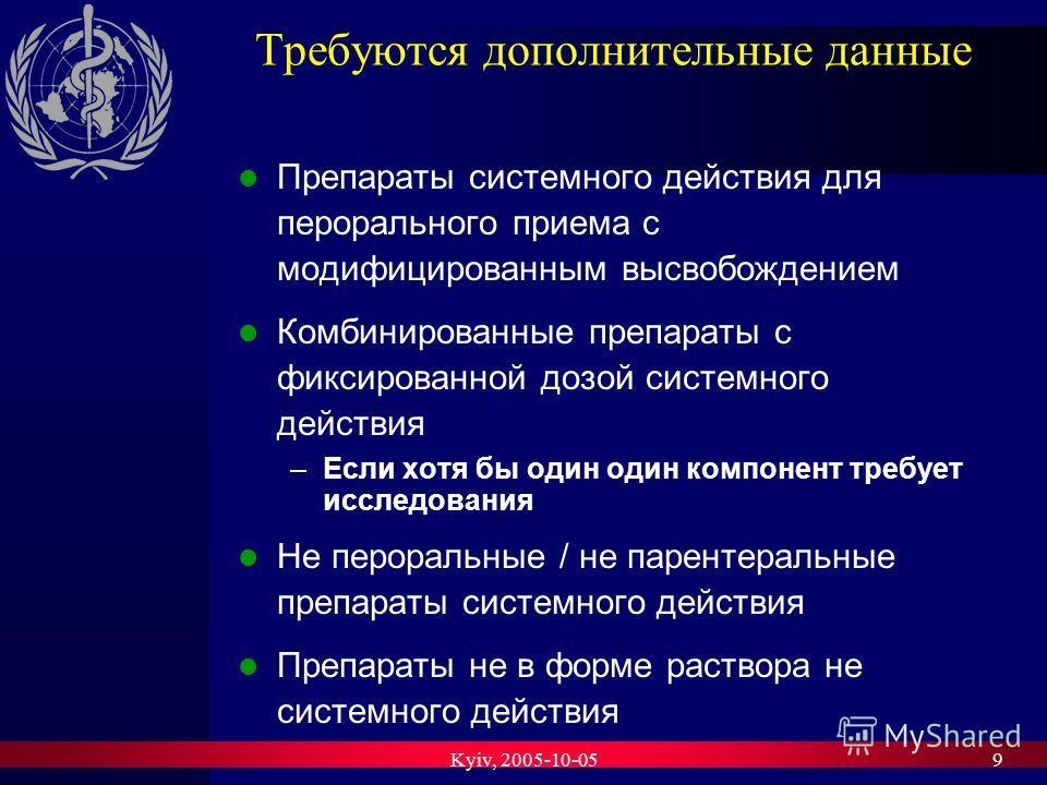 Kyiv, 2005-10-059 Требуются дополнительные данные Препараты системного действия для перорального приема с модифицированным высвобождением Комбинированные препараты с фиксированной дозой системного действия –Если хотя бы один один компонент требует ис