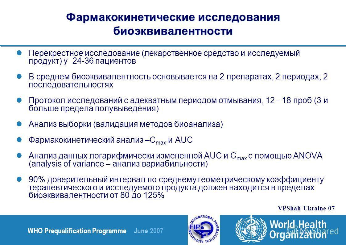 WHO Prequalification Programme June 2007 VPShah-Ukraine-07 Фармакокинетические исследования биоэквивалентности Перекрестное исследование (лекарственное средство и исследуемый продукт) у 24-36 пациентов В среднем биоэквивалентность основывается на 2 п