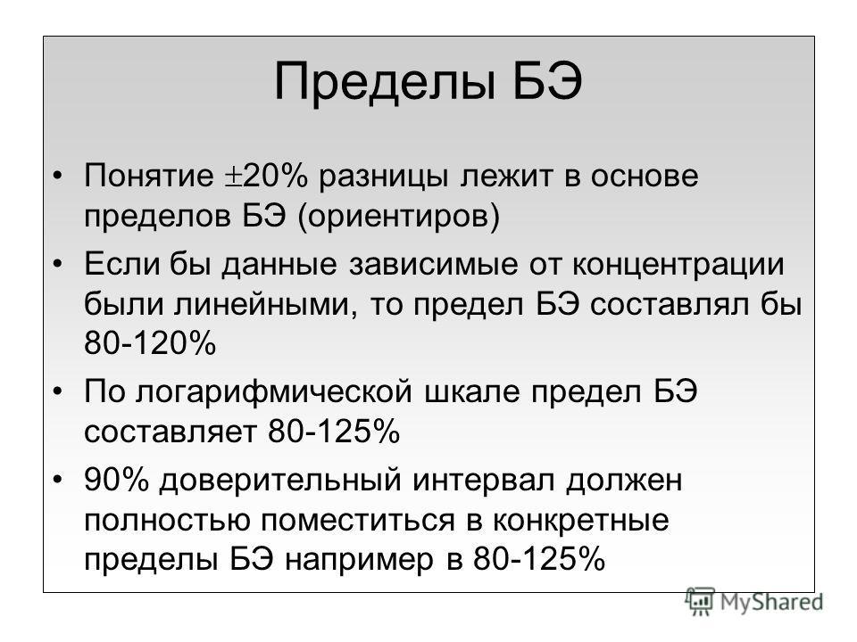 Пределы БЭ Понятие 20% разницы лежит в основе пределов БЭ (ориентиров) Если бы данные зависимые от концентрации были линейными, то предел БЭ составлял бы 80-120% По логарифмической шкале предел БЭ составляет 80-125% 90% доверительный интервал должен