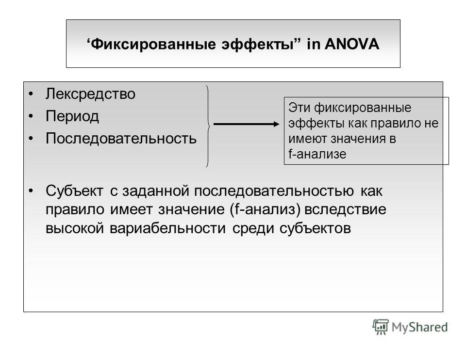 Фиксированные эффекты in ANOVA Лексредство Период Последовательность Субъект с заданной последовательностью как правило имеет значение (f-анализ) вследствие высокой вариабельности среди субъектов Эти фиксированные эффекты как правило не имеют значени