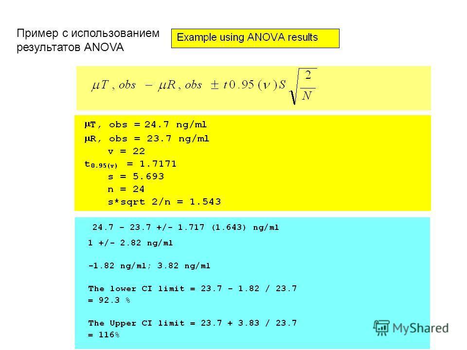 Пример с использованием результатов ANOVA