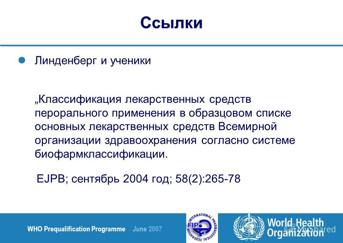 WHO Prequalification Programme June 2007 Ссылки Линденберг и ученики Классификация лекарственных средств перорального применения в образцовом списке основных лекарственных средств Всемирной организации здравоохранения согласно системе биофармклассифи