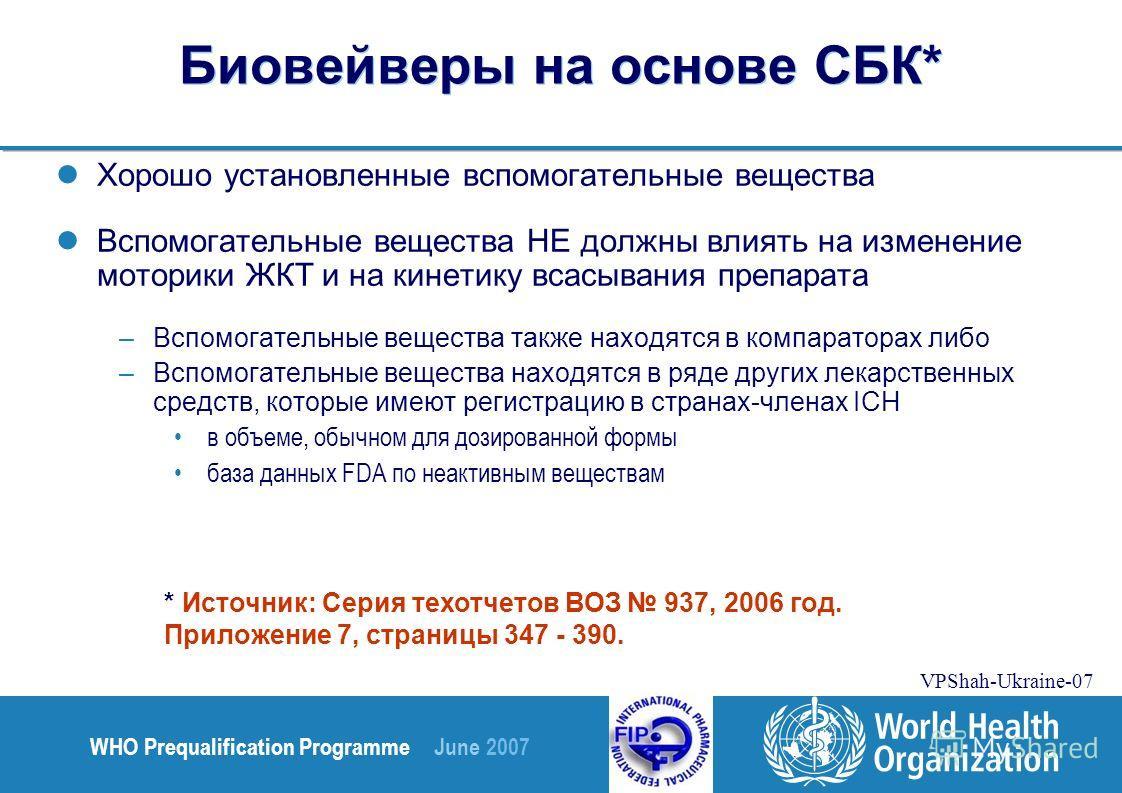 WHO Prequalification Programme June 2007 VPShah-Ukraine-07 Биовейверы на основе СБК* Хорошо установленные вспомогательные вещества Вспомогательные вещества НЕ должны влиять на изменение моторики ЖКТ и на кинетику всасывания препарата –Вспомогательные