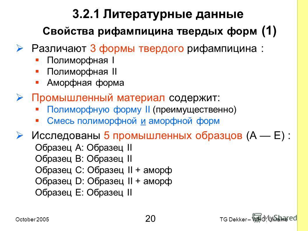 20 TG Dekker – WHO, UkraineOctober 2005 3.2.1 Литературные данные Свойства рифампицина твердых форм (1) Различают 3 формы твердого рифампицина : Полиморфная I Полиморфная II Аморфная форма Промышленный материал содержит: Полиморфную форму II (преимущ