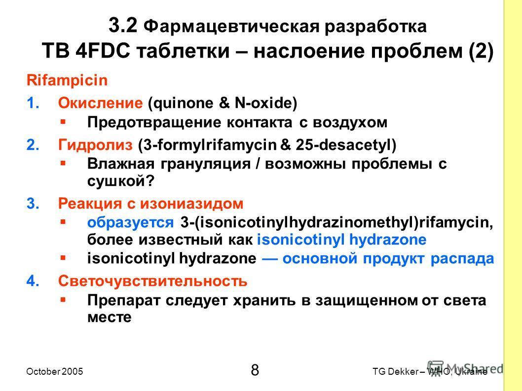 8 TG Dekker – WHO, UkraineOctober 2005 3.2 Фармацевтическая разработка TB 4FDC таблетки – наслоение проблем (2) Rifampicin 1.Окисление (quinone & N-oxide) Предотвращение контакта с воздухом 2.Гидролиз (3-formylrifamycin & 25-desacetyl) Влажная гранул