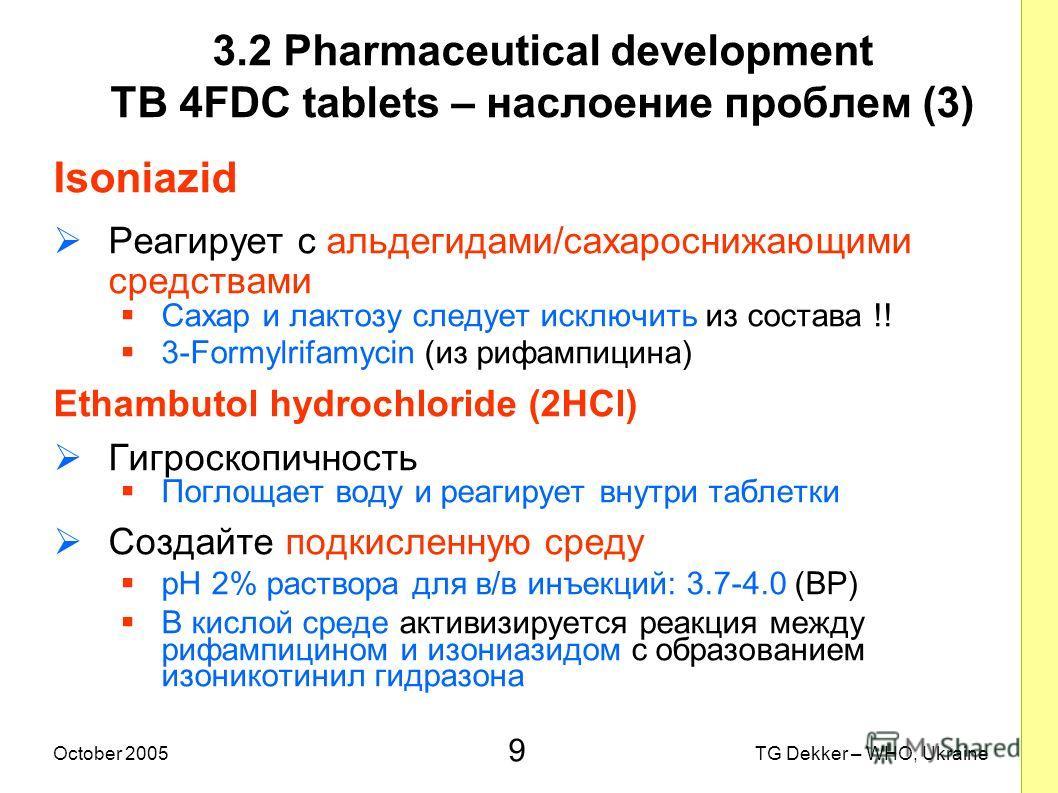 9 TG Dekker – WHO, UkraineOctober 2005 3.2 Pharmaceutical development TB 4FDC tablets – наслоение проблем (3) Isoniazid Реагирует с альдегидами/сахароснижающими средствами Сахар и лактозу следует исключить из состава !! 3-Formylrifamycin (из рифампиц